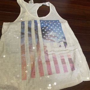 Sequined American flaged racer-back tank